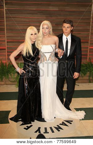 LOS ANGELES - MAR 2:  Donatella Versace, Lady Gaga, Nolan Gerard Funk at the 2014 Vanity Fair Oscar Party at the Sunset Boulevard on March 2, 2014 in West Hollywood, CA