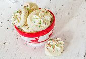 stock photo of shortbread  - Shortbread cookies in a Christmas themed bowl - JPG