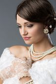 image of vintage jewelry  - Beautiful young caucasian girl wearing vintage clothing accessories and jewelry - JPG