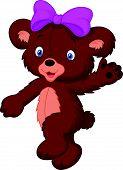stock photo of baby bear  - illustration of Happy cartoon baby bear isolated on white - JPG
