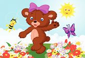 picture of baby bear  - illustration of Happy baby bear cartoon isolated on white - JPG