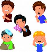 foto of snot  - illustration of Boy is sick collection isolated on white - JPG