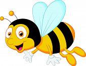 pic of bee cartoon  - illustration of Bee cartoon flying isolated on white - JPG