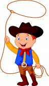 image of lasso  - illustration of Cowboy kid twirling a lasso isolated on white - JPG