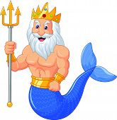 picture of poseidon  - illustration of Poseidon cartoon isolated on white - JPG