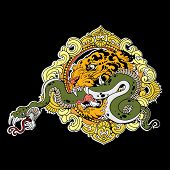 image of snake-head  - Great tiger head with snake on black background - JPG