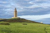 stock photo of hercules  - Tower of Hercules the almost 1900 years old and rehabilitated in 1791 55 metres tall structure is the oldest Roman lighthouse in use today and overlooks the Atlantic coast of Spain from A Coruna - JPG