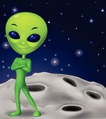 picture of alien  - illustration of Green alien cartoon isolated on white - JPG