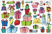 Постер, плакат: Colored gift boxes set Happi Holiday doodle