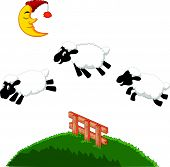 stock photo of counting sheep  - illustration of Three Funny Sheep Jumping Over A Fence - JPG