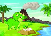 stock photo of dinosaur-eggs  - illustration of Mother triceratops with baby hatching - JPG
