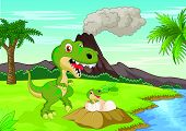 stock photo of tyrannosaurus  - Vector illustration of Mother tyrannosaurus with baby hatching - JPG