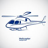 image of helicopter  - helicopter symbol in perspective  - JPG