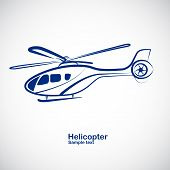 picture of helicopter  - helicopter symbol in perspective  - JPG