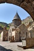 stock photo of armenia  - The ancient Christian temple Geghard in the mountains of Armenia - JPG