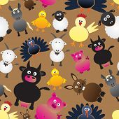 foto of gobbler  - colorful farm animals simple icons seamless pattern eps10 - JPG