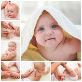 pic of gymnastic  - Collage masseur doing massage and gymnastics little baby - JPG