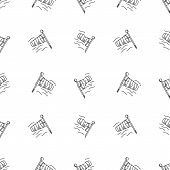 stock photo of wind vanes  - Seamless vector pattern with black monochrome outline vanes by wind on white background - JPG