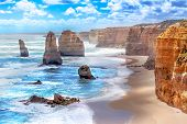 foto of cliffs  - Twelve Apostles and orange cliffs along the Great Ocean Road in Australia - JPG
