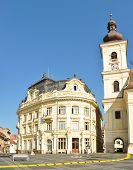 stock photo of sibiu  - sibiu romania city hall building landmark architecture - JPG