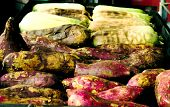 picture of sweet-corn  - Grilled sweet potatos and sweet corns on charcoal grill - JPG