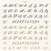 stock photo of cursive  - Handmade vector calligraphy tattoo alphabet with numbers and decorative elements - JPG