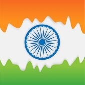 image of indian independence day  - Beautiful national flag color background with Ashoka Wheel for Indian Independence Day and Republic Day celebration - JPG