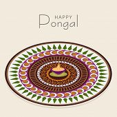 stock photo of rangoli  - Beautiful floral design decorated rangoli with lit lamp for South Indian harvesting festival - JPG
