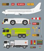 image of fire truck  - Airport infographic set with airplane tow truck fire engine and fuel truck - JPG