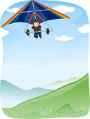 stock photo of glider  - Illustration of a Stickman Maneuvering  Hang Glider - JPG