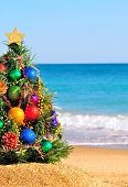 stock photo of boll  - Christmas tree on the sand in the beach - JPG
