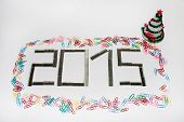 foto of staples  - Happy new 2015 year with staples on the white background - JPG