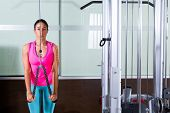 stock photo of pulley  - Triceps pressdown high pulley workout woman at gym exercise - JPG