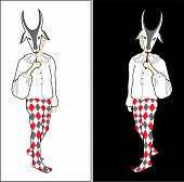 picture of harlequin  - Sketch of harlequin in white shirt and bright tricot with goat mask on black or white background - JPG
