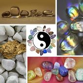 picture of semi-circle  - Four images of different healing crystals and minerals surround a central yin yang symbol with a circle of stones for a border - JPG