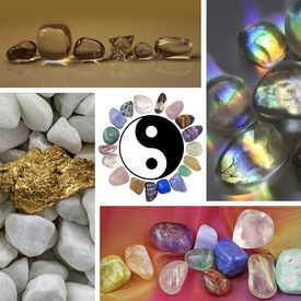 image of semi-circle  - Four images of different healing crystals and minerals surround a central yin yang symbol with a circle of stones for a border - JPG
