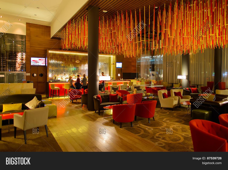 moscow, russia - march 29, 2015: hilton hotel interior. hilton