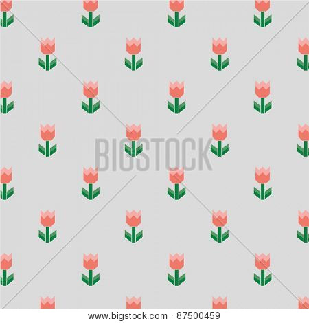 Vector repetitive pattern made with tiny graphic of flower with leaves.