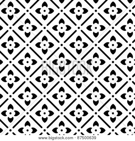 Elegant floral black and white vector pattern.