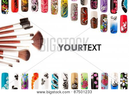 Nail art handmade. Colorful nails isolated