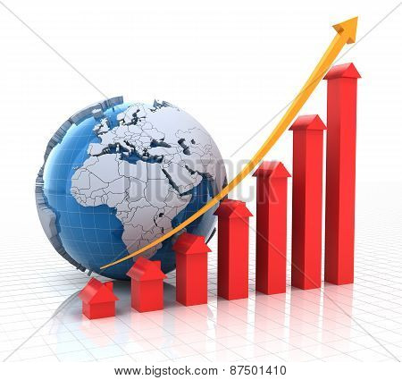 Real estate growth chart with globe, 3d render
