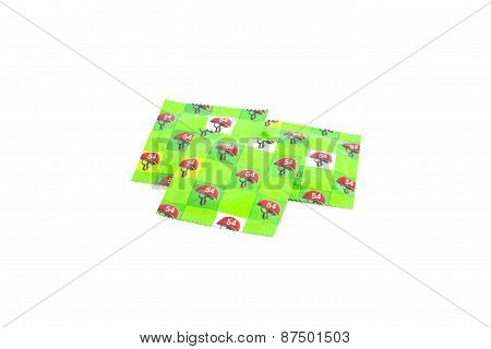 Background Of Green Condoms. Studio Shot.