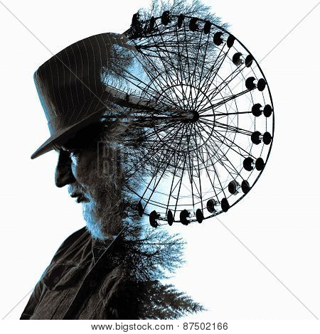 Double Exposure. Collage Of The Man In A Hat And Review Wheels.