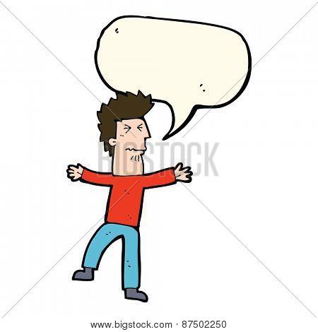 cartoon stressed man with speech bubble