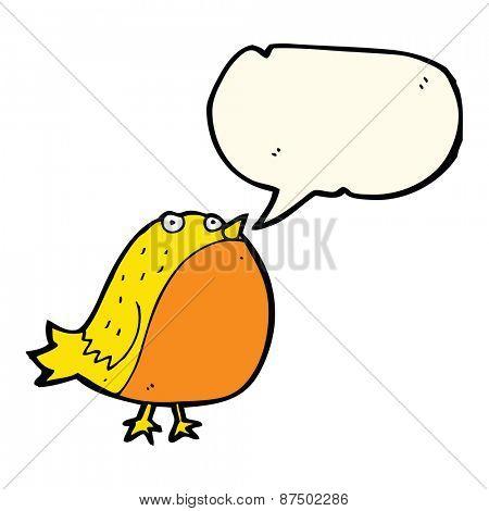 cartoon fat bird with speech bubble