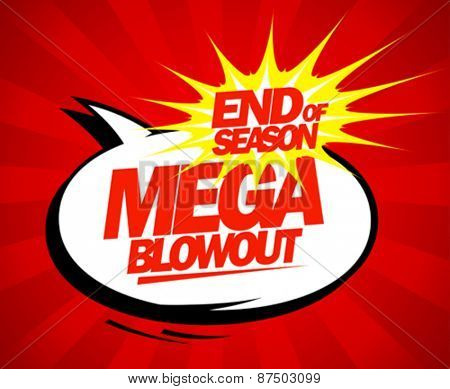Mega blowout sale design in pop-art style.
