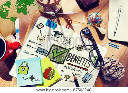 Benefits Gain Profit Earning Income Office Desk Concept