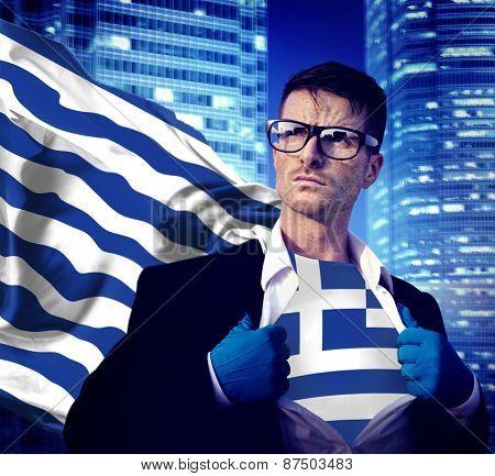 Businessman Superhero Country Greece Flag Culture Power Concept