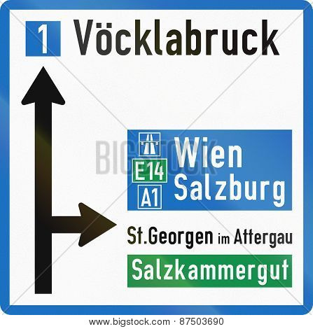Direction Sign In Austria