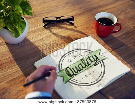 Businessman Brainstorming on a Concept About Quality